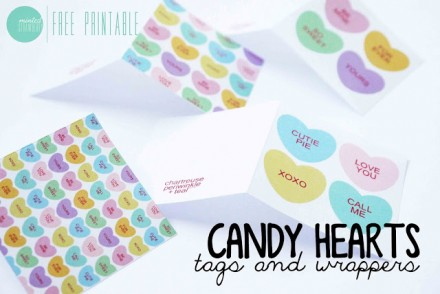 Free Printable Candy Heart Gift Wrap from Minted Strawberry