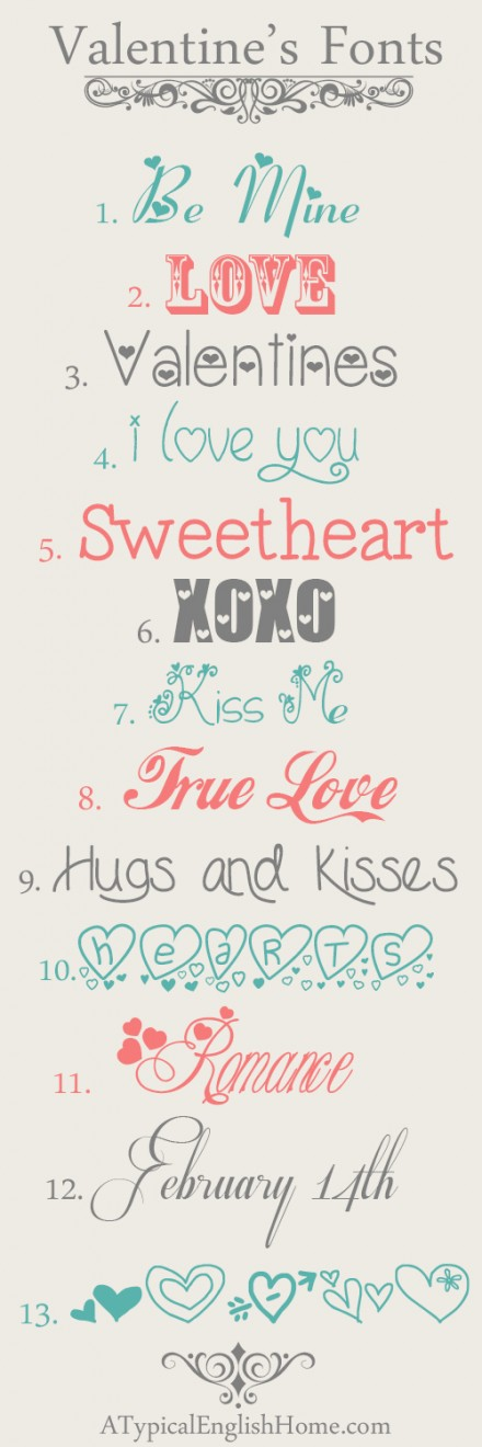 Free Valentine's Day Fonts from A Typical English Home