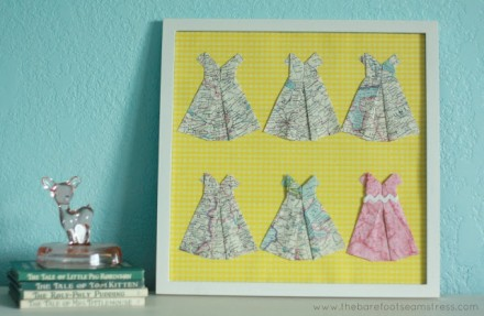 Show & tell - Framed Origami Dresses by The Barefoot Seamstress
