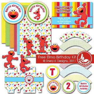 Freebie svg printable elmo birthday kit scrap booking for Elmo arts and crafts